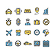 Taxi Services Icon Thin Line Set