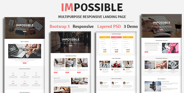 IMPOSSIBLE - Multipurpose Responsive HTML Landing Page