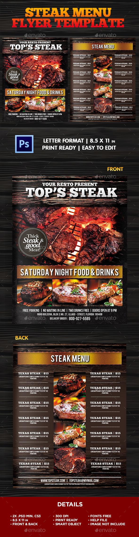 BBQ - Steak Menu Flyer Template