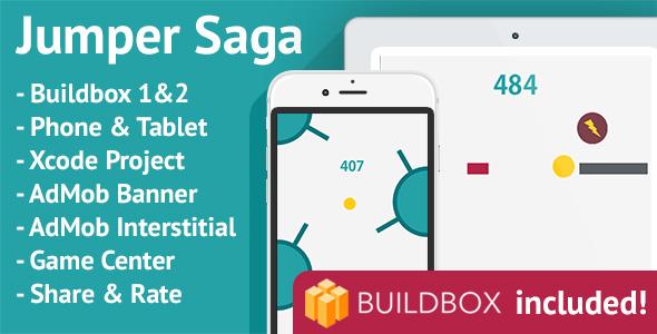 Jumper Saga: iOS, Buildbox Included, Easy Reskin, AdMob Banner & Interstitial - CodeCanyon Item for Sale