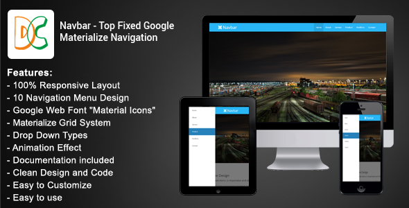 Navbar - Top Fixed Google Materialize Navigation