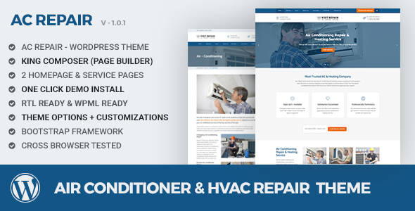 Фото Wordpress Template  Air conditioner & HVAC Repair WordPress theme — preview.  large preview