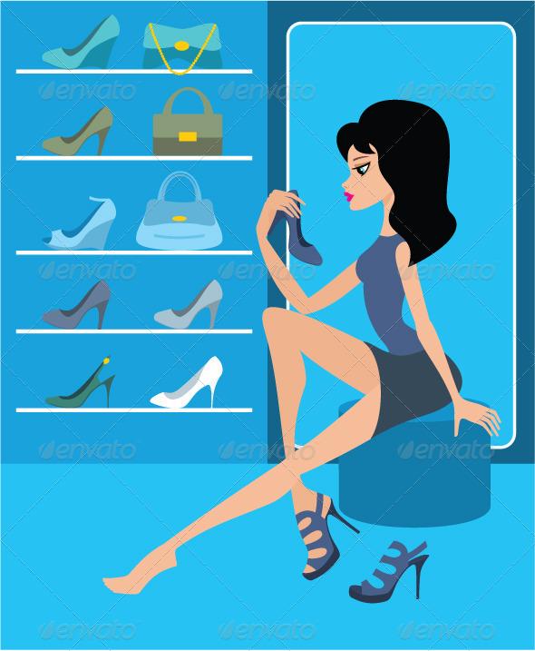 Shop of female footwear
