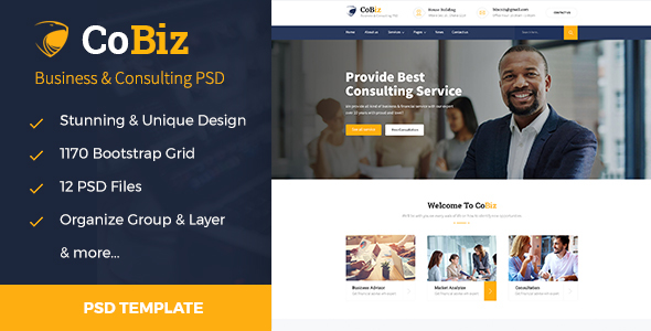 CoBiz - Business & Consulting PSD Template
