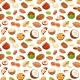 Seamless Pattern with Illustrations of Nuts Vector