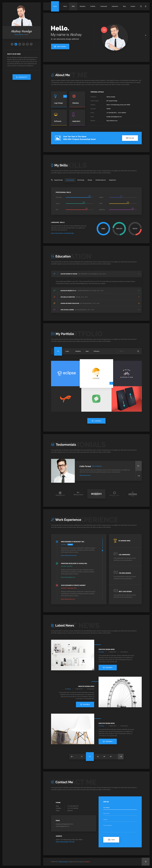 Hello - Resume, CV, vCard & Portfolio Material PSD Template
