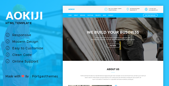 Aokiji - Construction & Business HTML Template