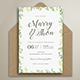 Watercolor Leaves Wedding Invitation Suite