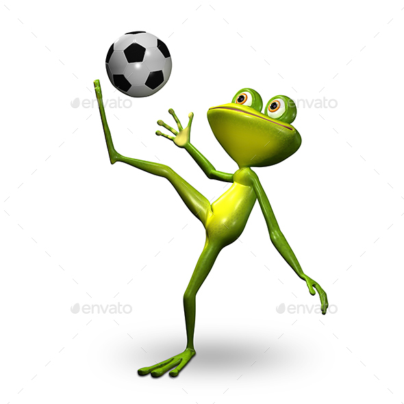 Graphicriver 3D Illustration Frog with Ball 19655931