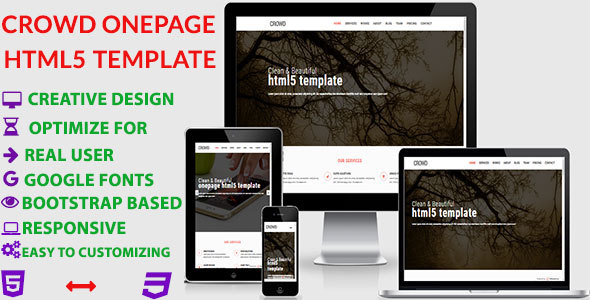 Download Crowd - Creative Portfolio HTML5 Onepage Template