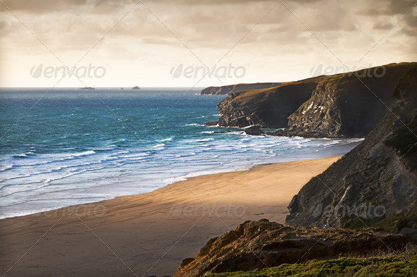 Cornish coast near Newquay, Cornwall, England - Stock Photo - Images
