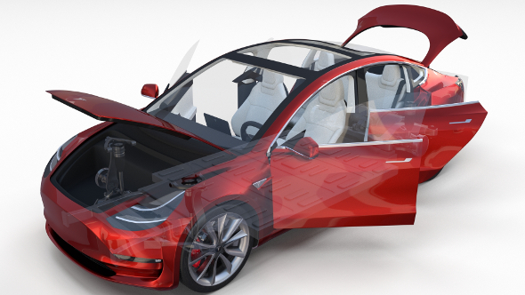 3DOcean Tesla Model 3 Red with interior and chassis 19660972