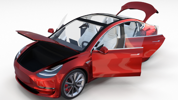 Tesla Model 3 Red with interior - 3DOcean Item for Sale