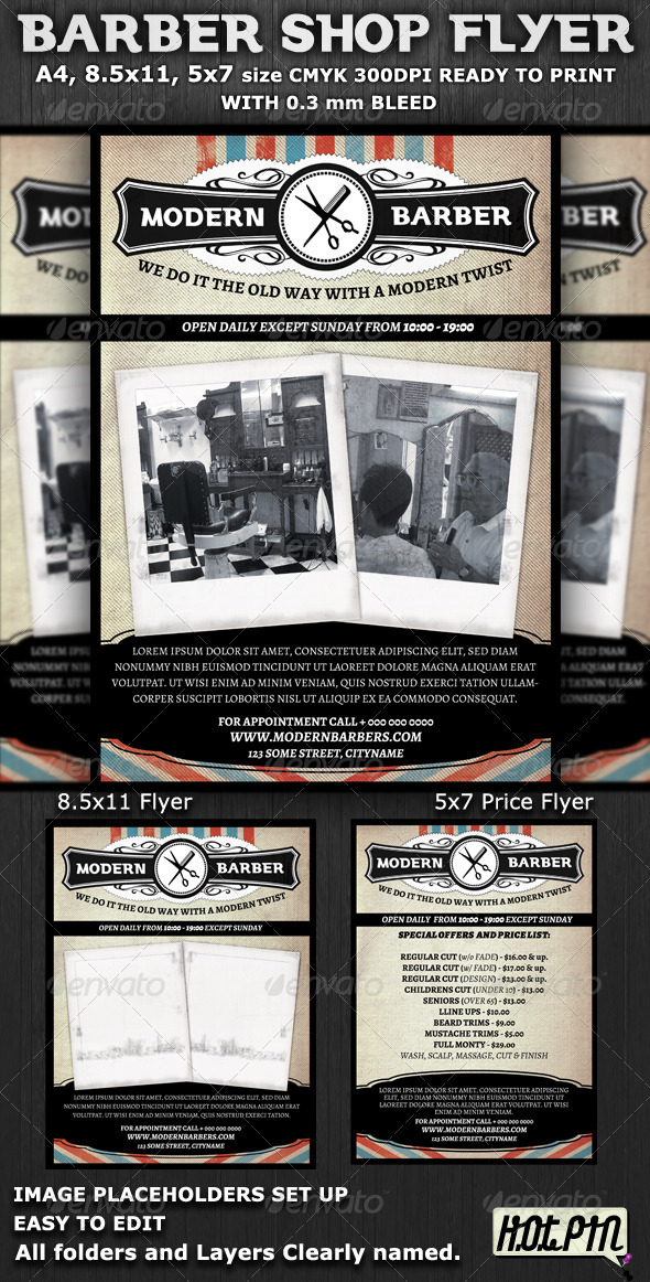 GraphicRiver Barber Shop Flyer Template 1927459