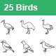 Birds Outlines Vector Icons