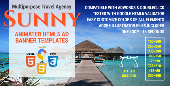 Download Sunny - Multipurpose Travel Agency HTML5 Ad Banner Templates