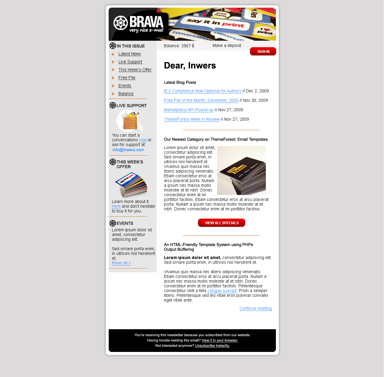 BRAVA - a corporate nice e-mail - Inwers - Brava Black