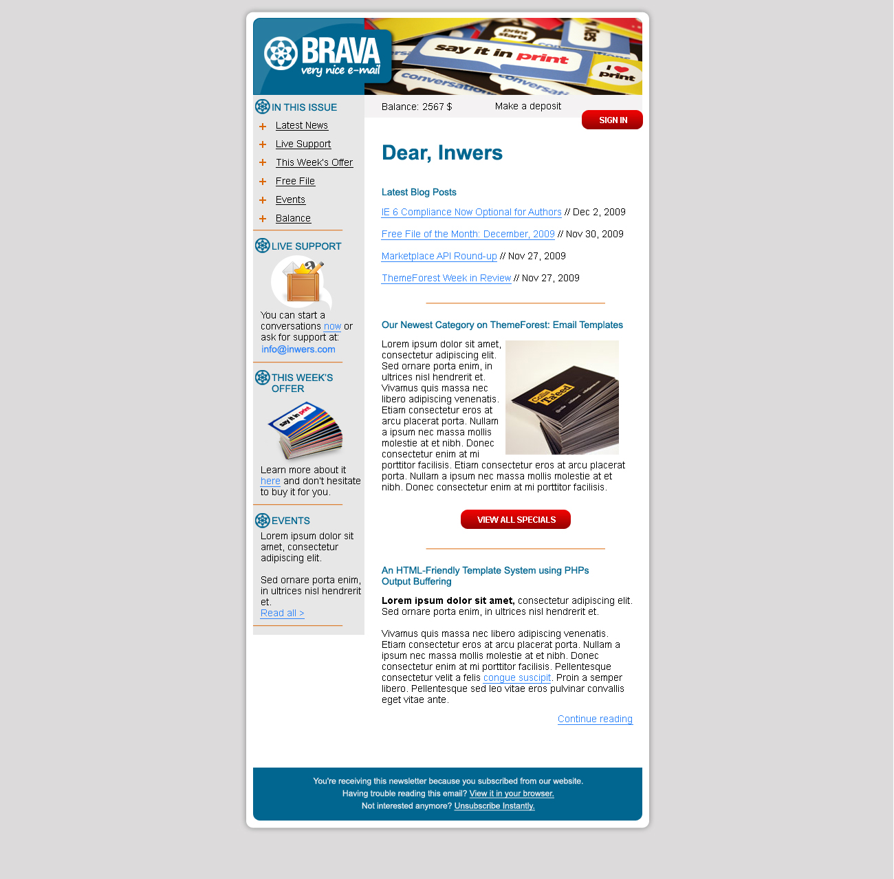 BRAVA - a corporate nice e-mail - Inwers - Brava Blue