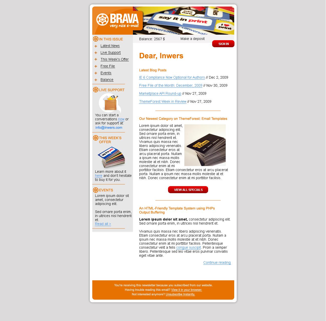 BRAVA - a corporate nice e-mail - Inwers - Brava Orange