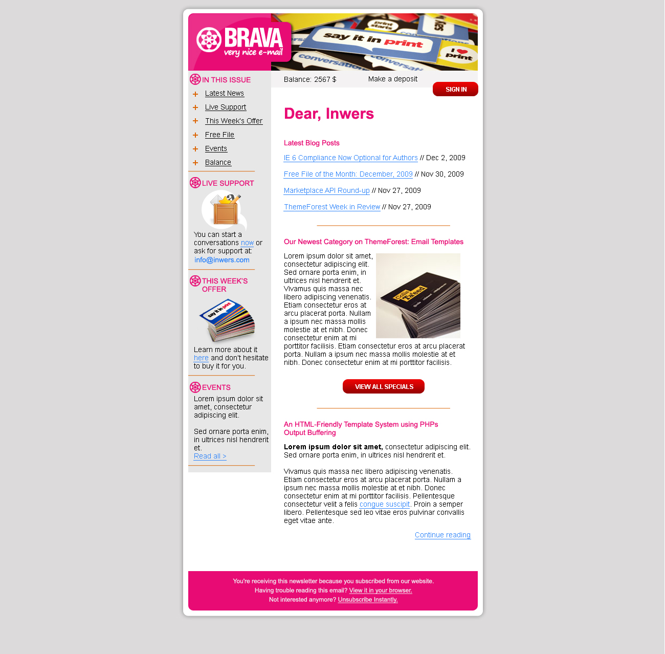 BRAVA - a corporate nice e-mail - Inwers - Brava Pink