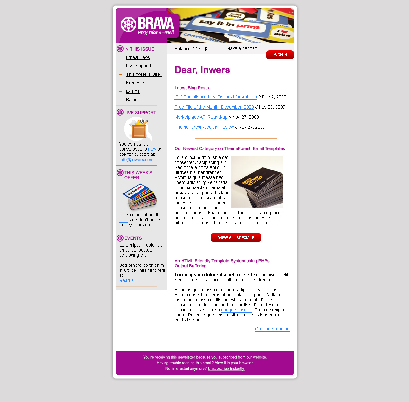 BRAVA - a corporate nice e-mail - Inwers - Brava Purple
