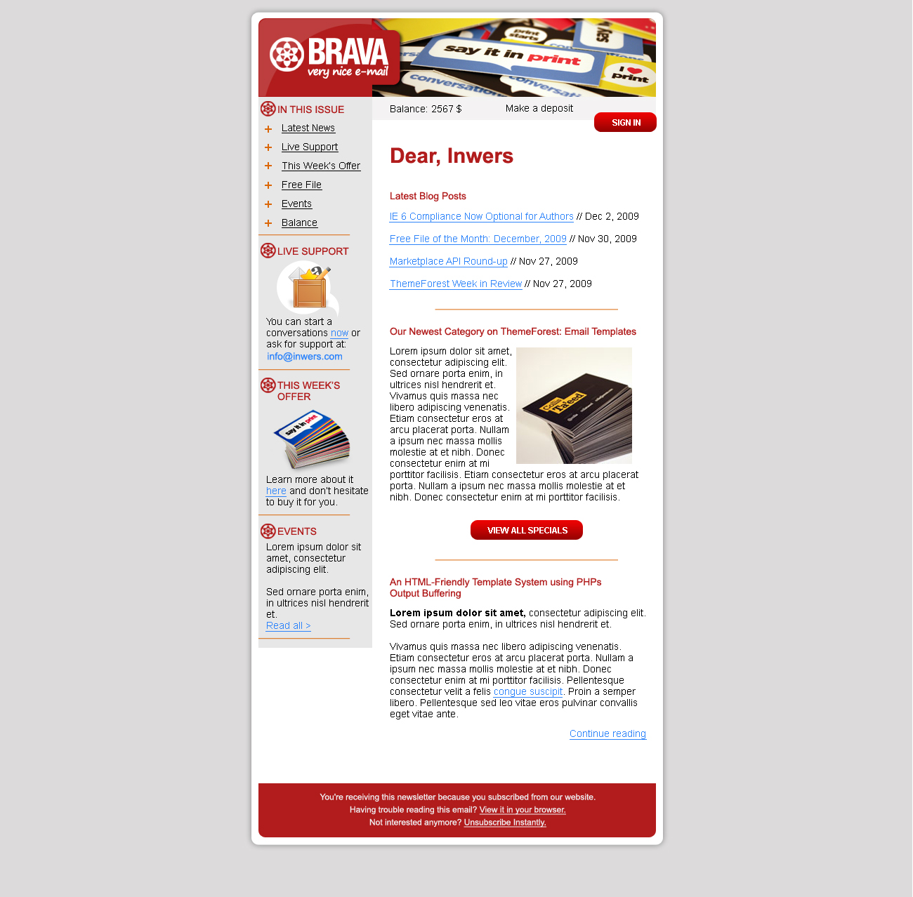BRAVA - a corporate nice e-mail - Inwers - Brava Red