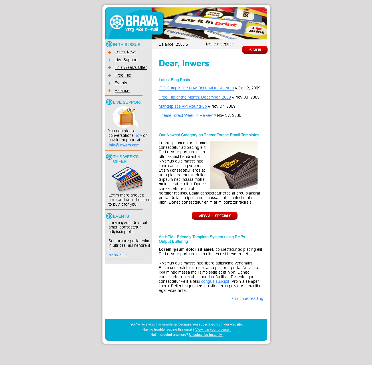 BRAVA - a corporate nice e-mail - Inwers - Brava Sky Blue