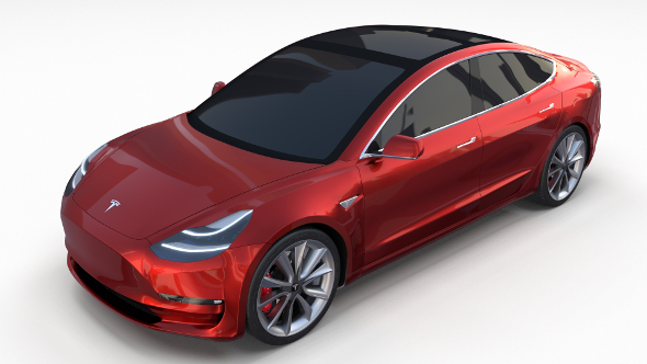 3DOcean Tesla Model 3 Red 19665000