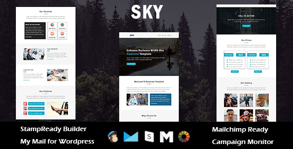 Sky – Multipurpose Responsive E mail Template with Stampready Builder Access (E mail Templates)