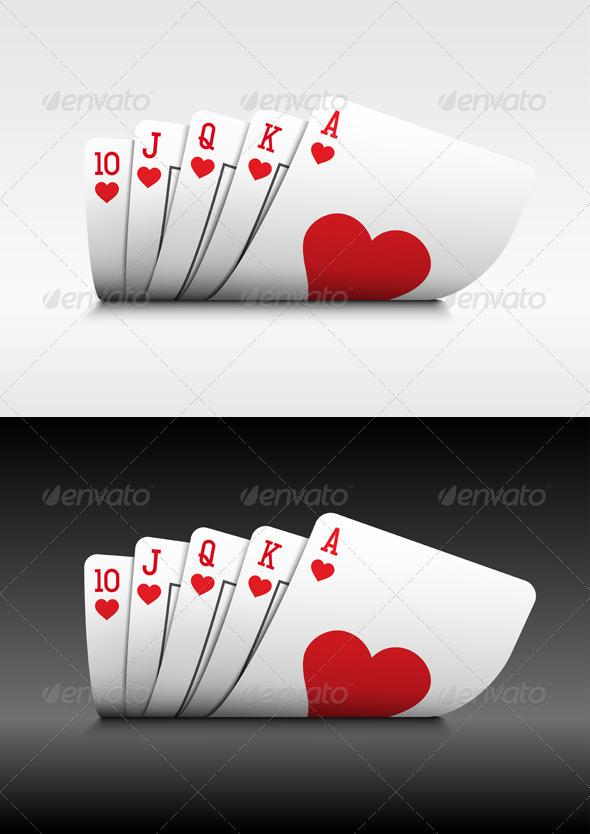 Royal Flush poker cards on white.