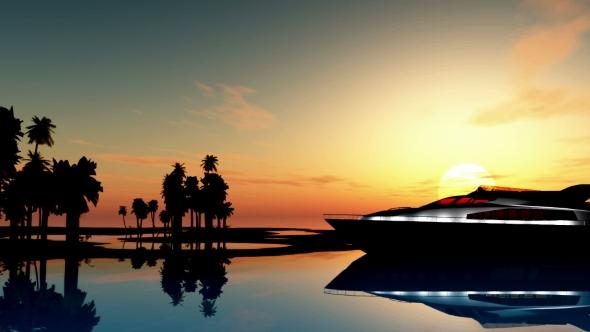 VideoHive Yacht Near Palms Island 19668479