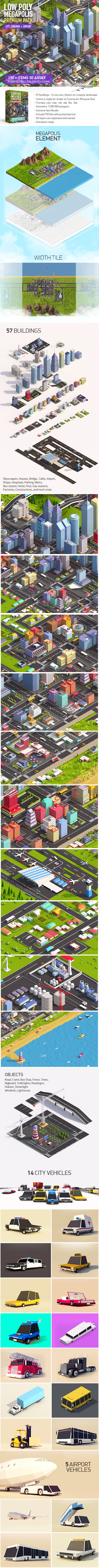 3DOcean Low Poly Megapolis Premium Pack Landscape Buildings Airport 19668624