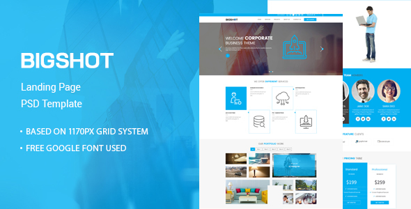 BigShot - One Page Creative PSD Template