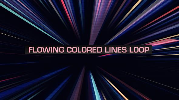 VideoHive Flowing Colored Lines Loop V8 19669476