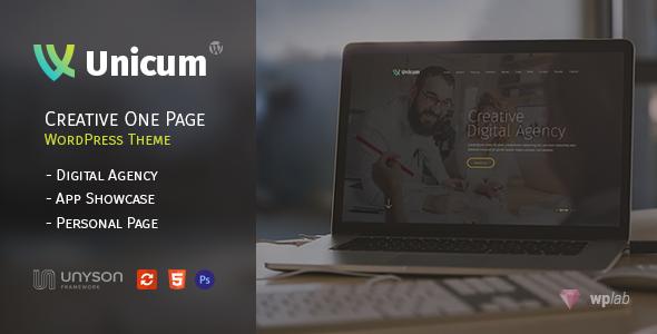 Фото Wordpress премиум тема  Unicum - One Page Creative WordPress Theme With RTL Support — 01 preview.  large preview