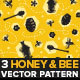Honey and Bee Seamless Pattern