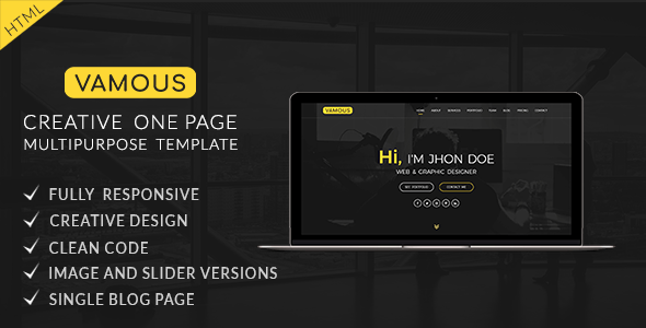 Download Vamous | Creative One Page Portfolio & Multipurpose HTML5 Template