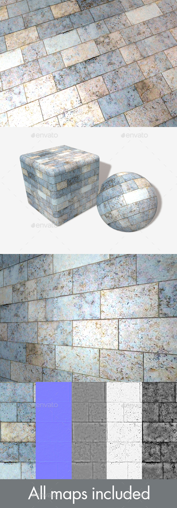 Blue Marble Bricks Seamless Texture - 3DOcean Item for Sale