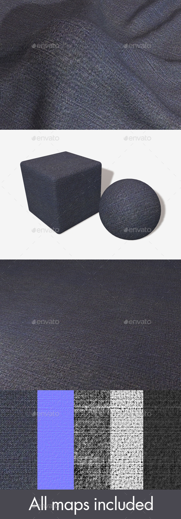 Dark Blue Denim Seamless Texture - 3DOcean Item for Sale