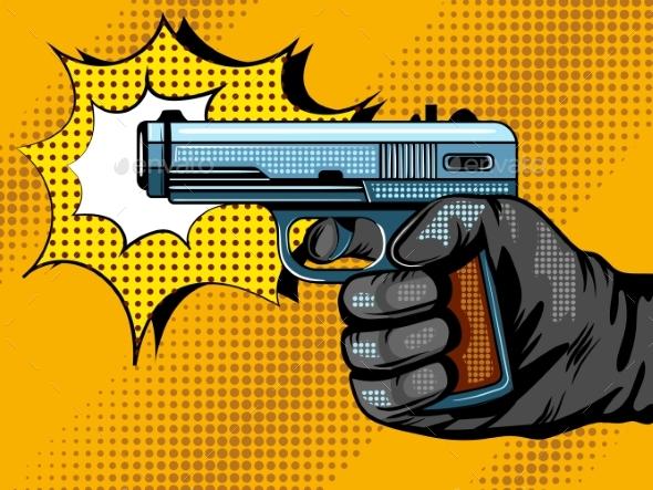 Gun Shooting Pop Art Vector Illustration
