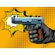 Gun Shooting Pop Art Vector Illustration