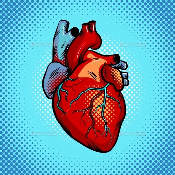 Human Heart Pop Art Style Vector Illustration