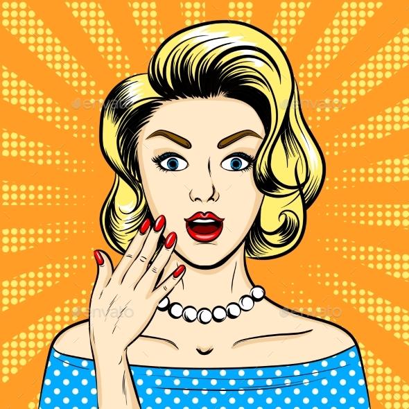 Surprised Woman Pop Art Style Vector Illustration