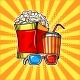 Popcorn Drink and Colorful Cinema Glasses