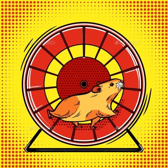Hamster in the Wheel Pop Art Vector Illustration