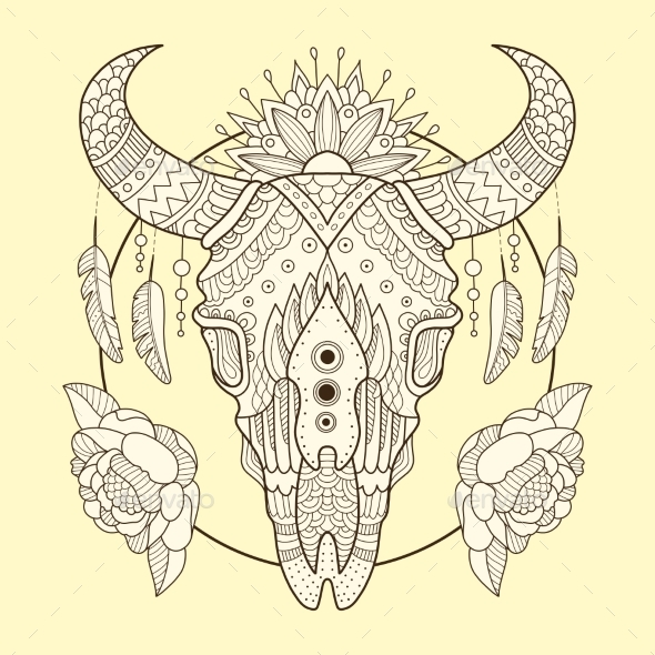 Cow Skull Hand Drawn Vector Illustration