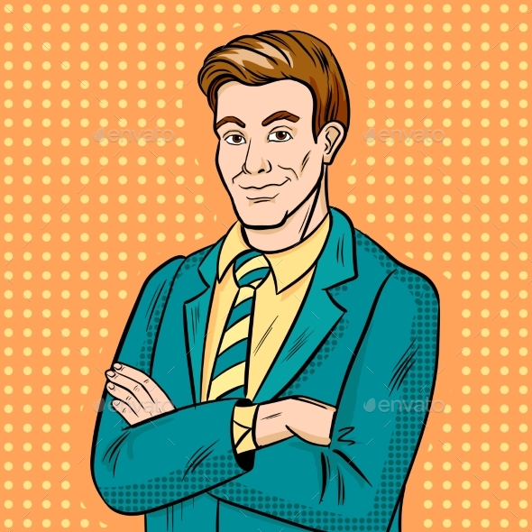 Graphicriver Businessman Smiling Pop Art 19672030