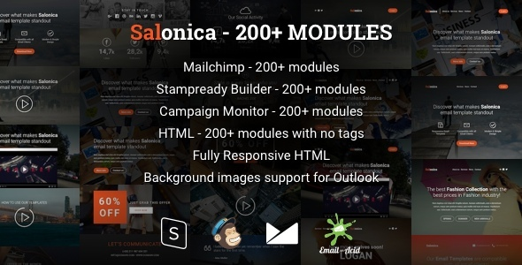 Salonica - Responsive Email Template with Mailchimp Editor & StampReady Builder