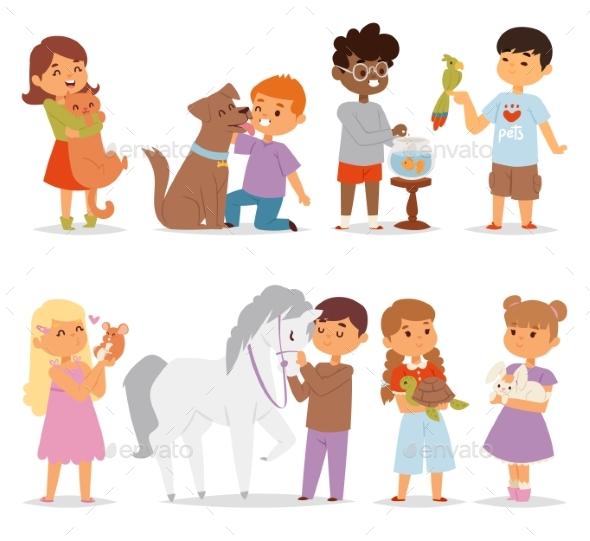 Toddler Cartoon Kids Characters Petting Little Pet