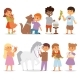 Toddler Cartoon Kids Characters Petting Little Pet